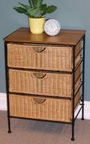 4D Concepts 3 Drawer Wicker Stand In Wicker Metal
