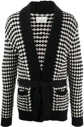 Laneus Check Knitted Cardigan