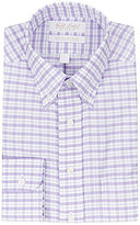 Roundtree & Yorke Gold Label Non-Iron Fitted Classic-Fit Button-Down Collar Checked Dress Shirt
