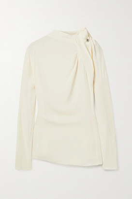 By Malene Birger Diora Embellished Gathered Crepe Blouse - Off-white