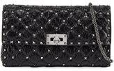 Valentino Rockstud Spike Quilted Leather Chain Shoulder Bag, Black