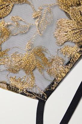 Coco de Mer Aria Cutout Metallic Embroidered Tulle And Satin Briefs - Black