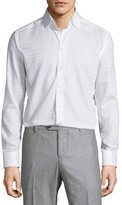 Eton Tonal-Houndstooth Long-Sleeve Sport Shirt, White