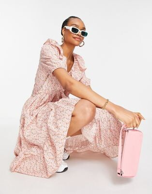 Y.A.S organic cotton midi dress with frill collar and pephem skirt in pink floral