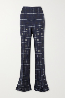 Akris Farida Checked Cotton And Silk-blend Flared Pants - Navy