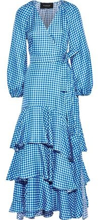 Paper London Neli Tiered Gingham Silk-twill Maxi Wrap Dress