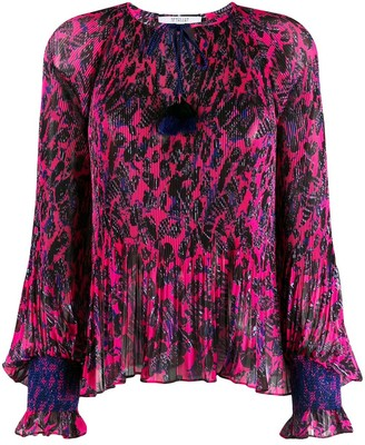 Derek Lam 10 Crosby Helena Pleated Speckled Floral Blouse