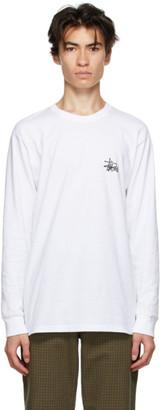 Stussy White Basic Logo Long Sleeve T-Shirt