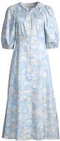 Rebecca Taylor Short-Sleeve Satin Leaf Dress