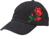 David & Young Black Floral Embroidered Baseball Cap