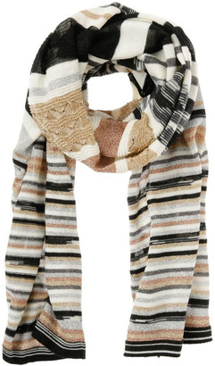 Missoni Metallic Stripe Knit Scarf - Gold/Black/White