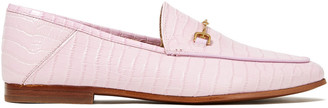 Sam Edelman Loraine Embellished Croc-effect Leather Collapsible-heel Loafers