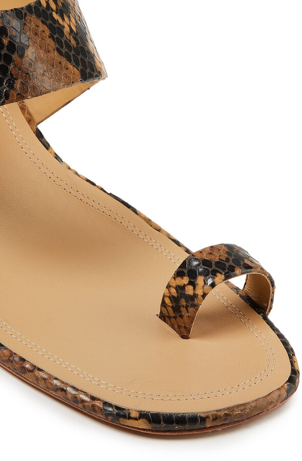 Thumbnail for your product : Zimmermann Snake-effect Leather Mules