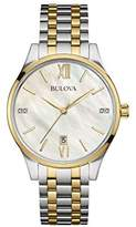 Bulova Diamond Women's Quartz Watch with Mother of Pearl Dial Analogue Display and Two Tone Stainless Steel Gold Plated Bracelet 98S149