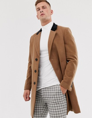 French Connection premium wool rich overcoat with velvet collar-Beige