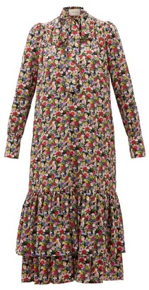 La DoubleJ Good Witch Floral-print Silk Crepe Dress - Multi
