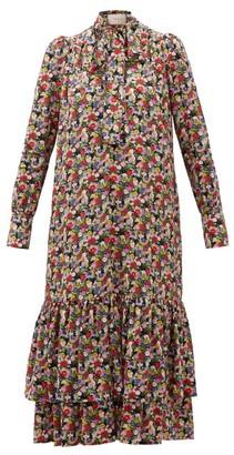 La DoubleJ Good Witch Floral-print Silk Crepe Dress - Womens - Multi