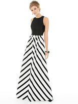 Alfred Sung D707P Long Bridesmaid Dress In Ivory Black