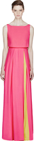 Roksanda Ilincic Bright Pink & Yellow Silk Ariane Maxi Dress
