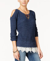 American Rag Cold-Shoulder Lace-Trim Sweater, Only at Macy's