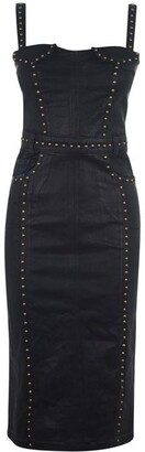 Versace Studded Coated Denim Dress