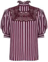 Sandro Striped Puff Sleeve Shirt