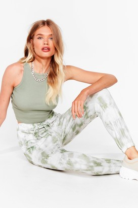 Nasty Gal Womens Run With It High-Waisted Tie Dye Joggers - Green - S
