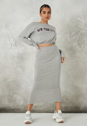 Missguided Gray New York Crop Top And Midi Skirt Co Ord Set