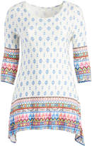 Glam White & Blue Abstract Sidetail Tunic - Plus
