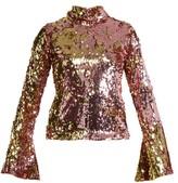 Halpern Sequin-embellished High-neck Top - Womens - Pink Gold