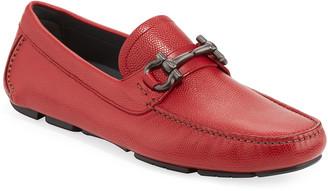 Salvatore Ferragamo Men's Leather Gancini Driver, Red