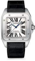 Cartier Santos 100 Automatic Large Stainless Steel & Alligator Strap Watch