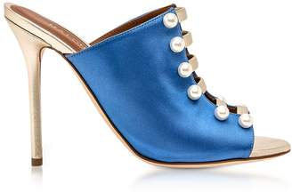 Malone Souliers Zada Blue And Platinum Satin High Heel Mules