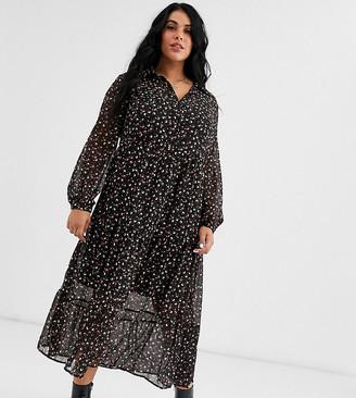 New Look Plus Curve button through midi shirt dress in black pattern