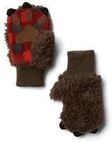 Gap Cozy plaid bear mittens