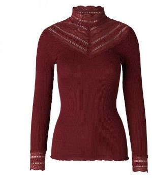 Rosemunde Silk Blend Cabernet Long Sleeve Top With Lace Trim - LARGE - Red
