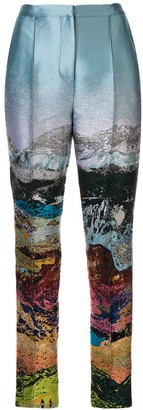 Mary Katrantzou Embroidered Print Trousers