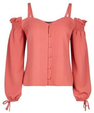 Dorothy Perkins Womens Pink Cold Shoulder Milkmaid Top, Pink