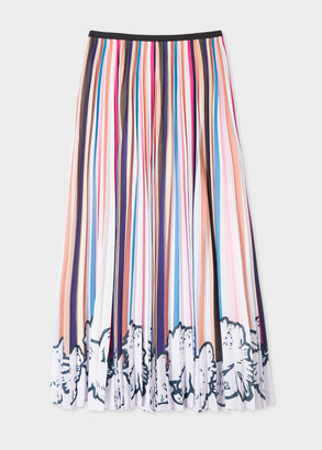 Paul Smith Women's Multi Stripe Pleated Skirt With Floral Hem