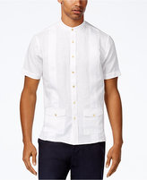 Sean John Men's Guayabera Band Collar Embroidered Shirt