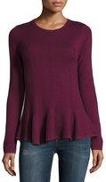 Neiman Marcus Cashmere Peplum Pullover Sweater, Burgundy