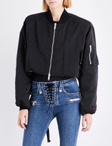Unravel Embroidered satin bomber jacket