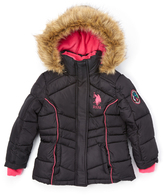 U.S. Polo Assn. Black Puffer Coat - Toddler & Girls