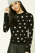Forever 21 Star Print Crew Neck Sweater