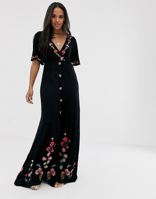 ASOS DESIGN textured button through maxi with embroidery