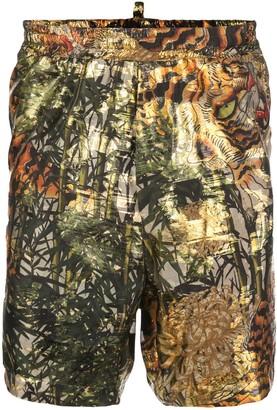 DSQUARED2 Tiger Print Track Shorts