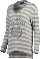 Unbranded Women's Cream/Gray Florida Gators Super Soft Brushed Stripe V-Neck Sweatshirt