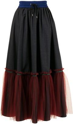 Kolor Tulle-Hem Maxi Skirt