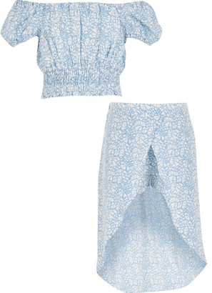 River Island Girls Blue heart printed crop top outfit