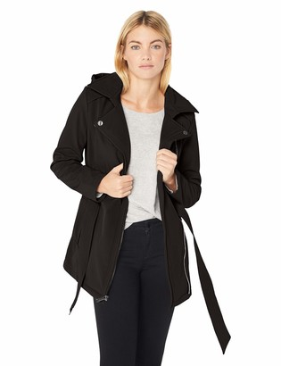 BCBGeneration Women's Soft Shell Asymmetrical Zip Belted Coat with Hood